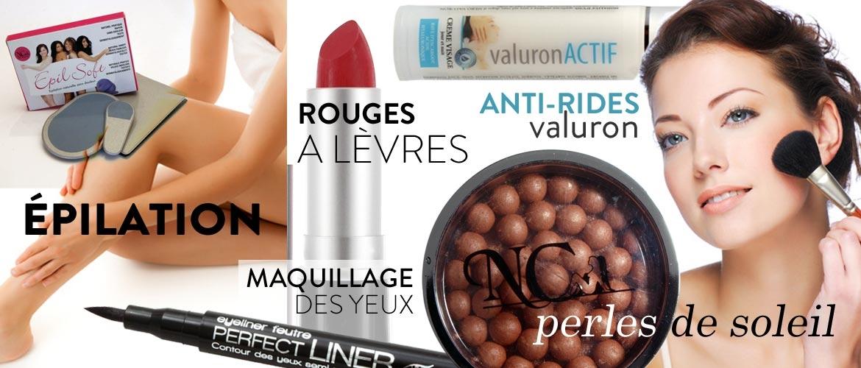 Vente de produits de beauté, perles de soleil,rouge a lèvres,antirides,épilation
